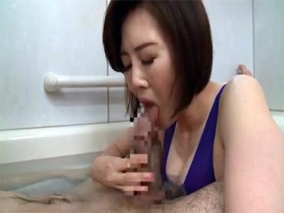 【ひとずま熟女AV女優動画】「竹内梨恵」がお風呂でフェラチオにパイズリにアナル舐めのフルコースでご奉仕w